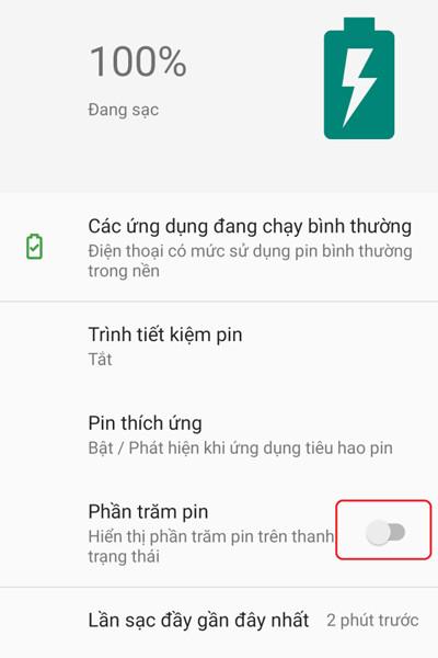 cách hiển thị phần trăm pin trên điện thoại xiaomi 5