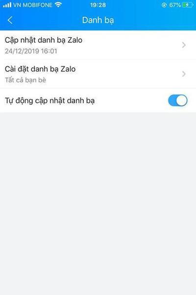 xóa tính năng cập nhật tự động danh bạ trên Zalo - bước 4