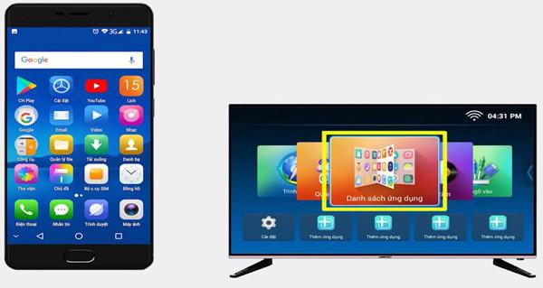 cách kết nối điện thoại Samsung với tivi Asanzo qua Wireless Display - 1