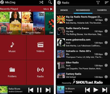 Phần mềm nghe nhạc Mixzing cho hệ điều hành Android