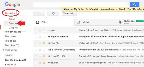sao lưu danh bạ từ iPhone lên gmail - bước 8