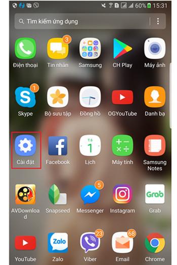 cách cài đặt zalo trên điện thoại Samsung - bước 1