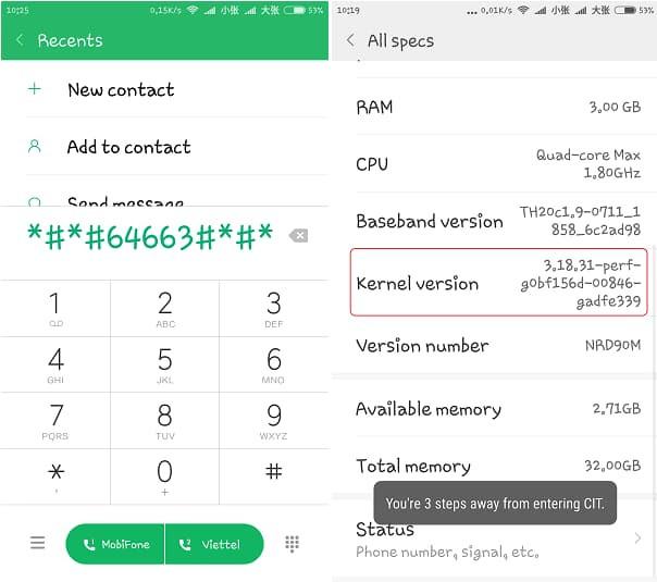 Kiểm tra phần cứng điện thoại Xiaomi qua mã test xiaomi