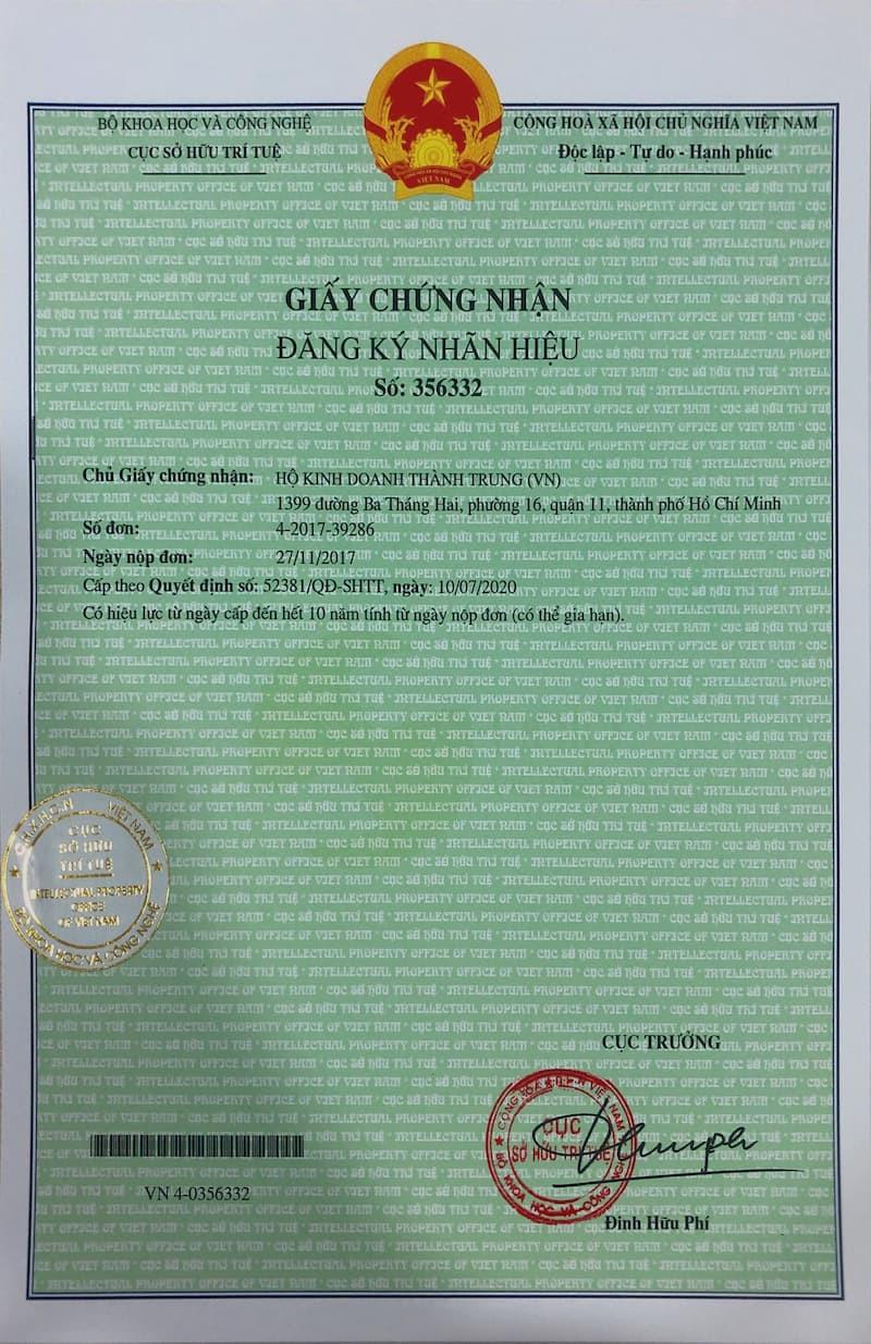 Giấy chứng nhận đăng ký sở hữu trí tuệ Thành Trung Mobile
