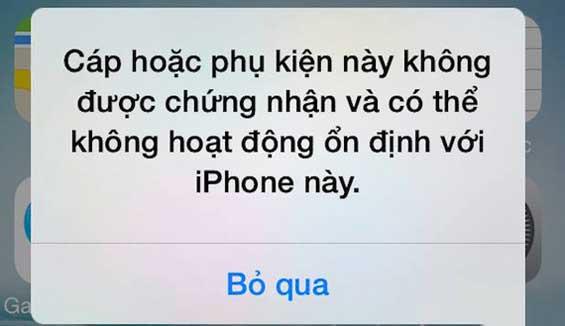 Khắc phục lỗi iPhone báo phụ kiện không được hỗ trợ