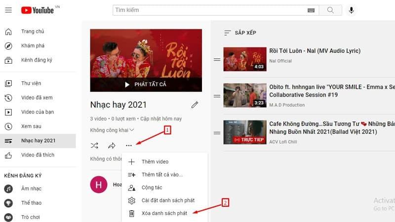 Hướng dẫn xóa danh sách phát trên Youtube bằng điện thoại và máy tính