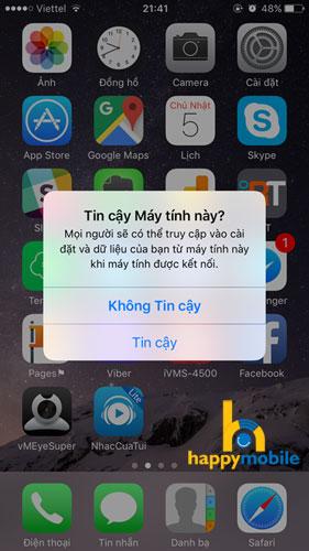 Xác nhận kết nối iPhone với máy tính