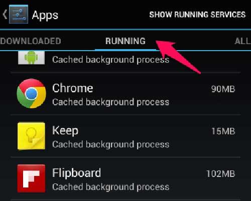 tắt ứng dụng chay ngầm trên Android 5.1 trở xuống - bước 1
