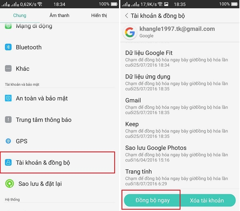 khôi phục danh bạ trên điện thoại android